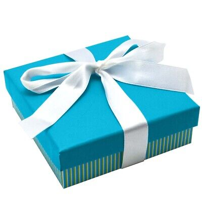 Wholesale Lot 24 Aqua Striped Square Jewelry Packaging Gift Boxes