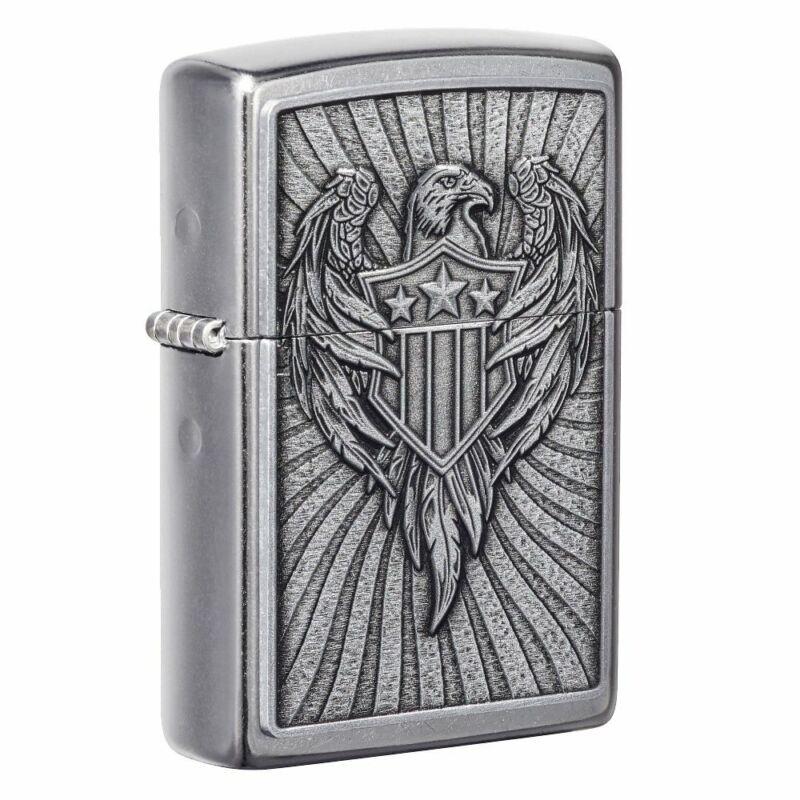 Zippo Eagle Shield Emblem Design Street Chrome Pocket Lighter, 49450