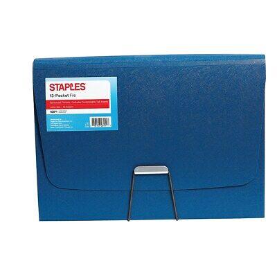 Staples Plastic 13-pocket Reinforced Expanding Folder Letter Size Blue 2806373