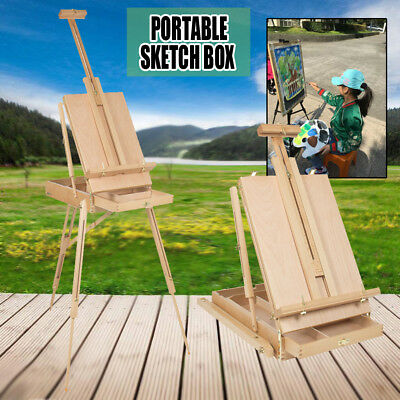 Portable French Tripod Easel Durable Wood Sketch Box Art Craft Painters +Palette
