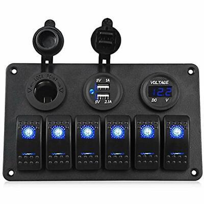 6 Gang Marine Ignition Toggle Rocker Switch Panel Waterproof Digital Voltmeter