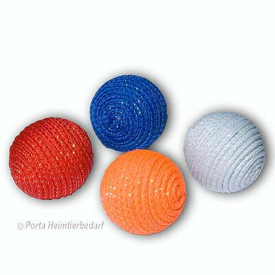 Spielball Kordel 4,5cm Glitzer und Rassel Katzenspielzeug Ball Spielbälle Katzen