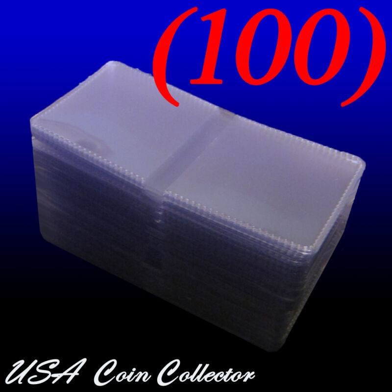 (100) 2x2 Double Pocket Vinyl Coin Flips for Storage & Display - Plastic Holders