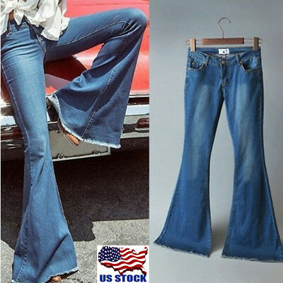 Women Skinny Flare Denim Jeans Retro Bell Bottom Stretch Pants Trousers US -