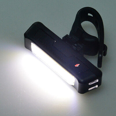 6 Modes White COB 1 LED Bicycle Bike Front Rear Light USB Rechargeable Battery