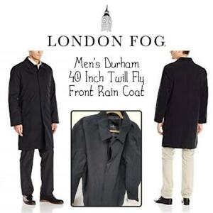 NEW London Fog Mens Durham 40 Inch Twill Fly Front Rain Coat Condtion: New, Black, 48 Regular