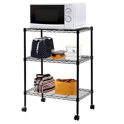 3 Tier Wire Shelving Rack Cart Kitchen Unit Wcasters Shelf Wheels Rolling Us