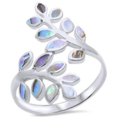 Abalone Friendship Olive Branch Tree Leaf .925 Sterling Silver Ring Olive Tree Branch