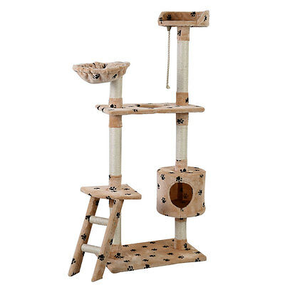 60  Cat Tree Tower Condo Scratcher Furniture Kitten Pet House Hammock Beige Paw