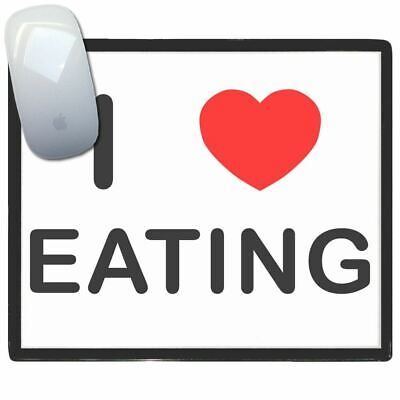 I Love Heart Eating - Thin Pictoral Plastic Mouse Pad Mat Badgebeast