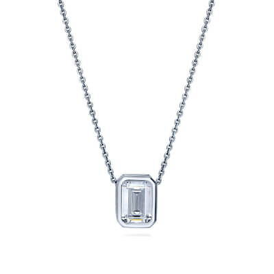 Emerald Cut Cubic Zirconia Necklace (BERRICLE Sterling Silver Emerald Cut CZ Solitaire Anniversary Wedding)