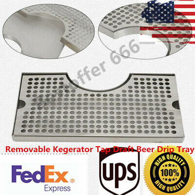 Stainless 304 Steel Polished Removable Kegerator Tap Draft Beer Drip Tray Top-