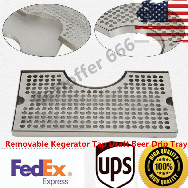 Stainless 304 Steel Polished Removable Kegerator Tap Draft Beer Drip Tray TOP^-^