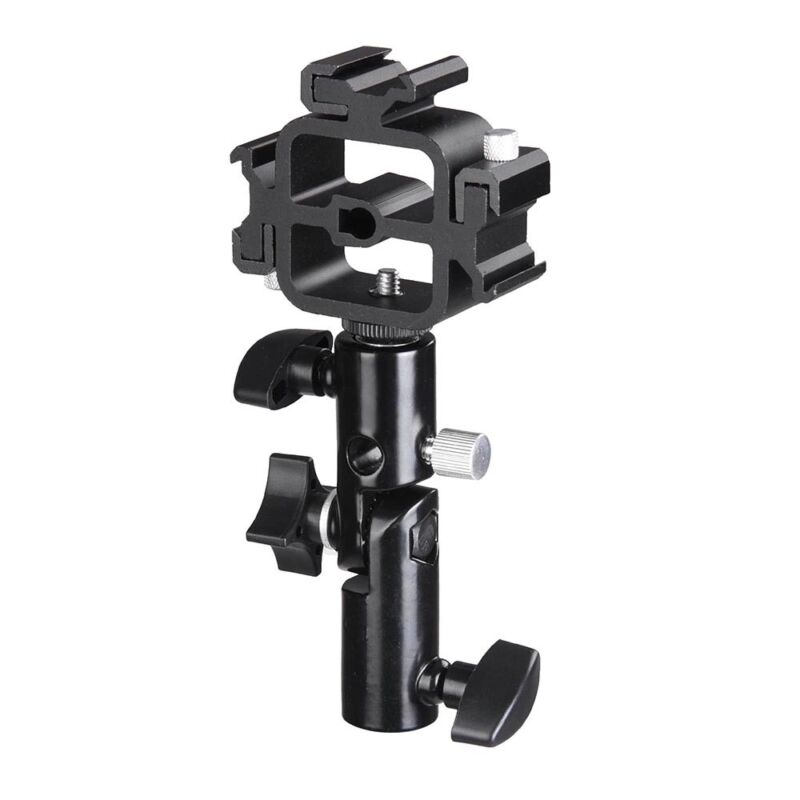 Camera Triple Holder Mount Adapter Flash Light Stand Umbrella Photography Studio