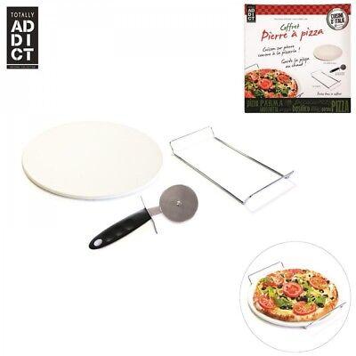 Runde Backstein-set (Pizzastein / Brotbackstein SET rund Grill geeignet + Halterung + Pizzaschneider)