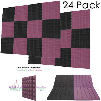 "24 Pack Acoustic Foam Panels Studio Soundproofing 1"" X 12"" X 12"" Pyramid Tiles"