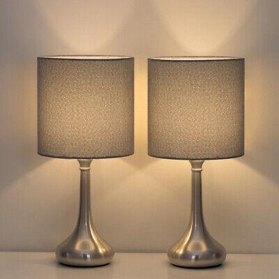 2 Sets/PCS HAITRAL Table Lamp Modern Desk Bedside Lights Fabric Shade Metal Base 2 Table Lamp Set