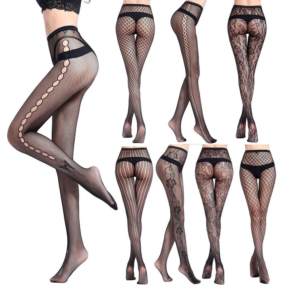 Sexy Damen Strumpfhose Hole Netz Strumpfhosen Socken Tights mit STRUMPFBAND Neu