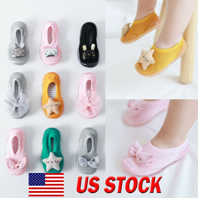 Toddler Newborn Baby Socks Girls Cartoon Sole Rubber Shoes S