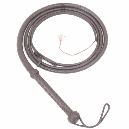 Indiana Jones 6, 8, 10, 12 Feet 8 Strands Brown Cowhide Real Leather Bullwhip