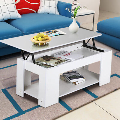 Wooden Lift Up Top Coffee Table with Storage & Shelf Living Room Furniture