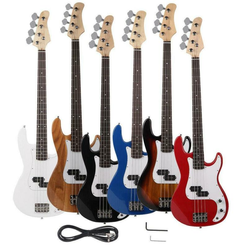 New Vintage Brand 4-String Electric Bass Guitar Black Blue White Red Yellow