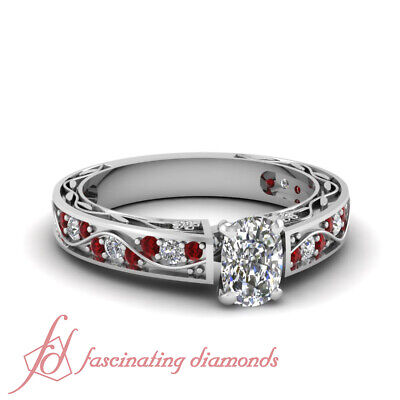 1 carat cushion cut diamond antique ruby rings in white gold GIA certified