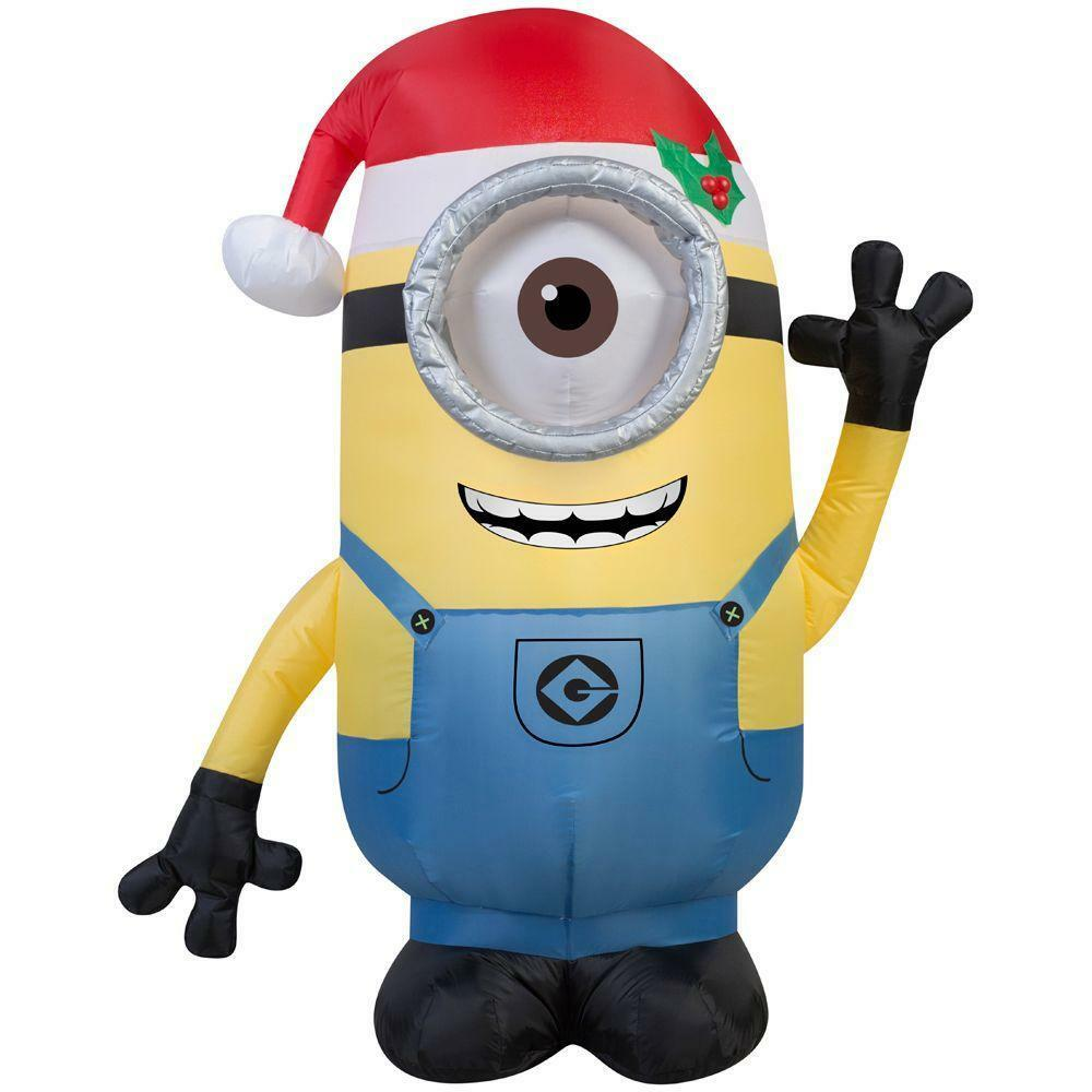 Christmas 42 In. H Inflatable Minion Stuart With Santa Hat Outdoor Decor