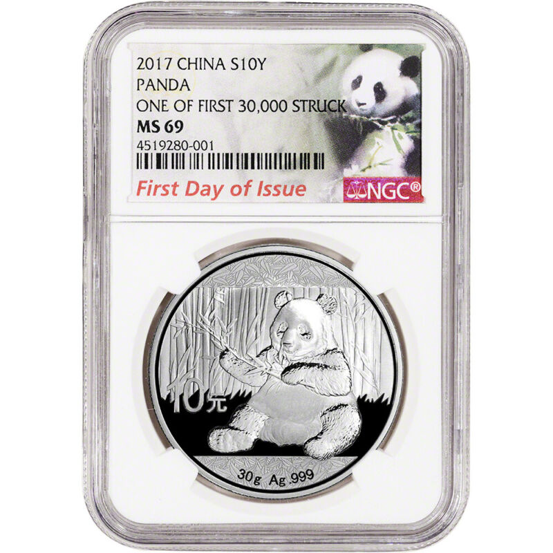2017 China Silver Panda 30 g 10 Yuan NGC MS69 First Day Issue Panda First Label