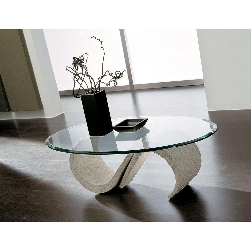 Tavolino da salotto con piano in vetro ovale o rotondo modello Cinzia