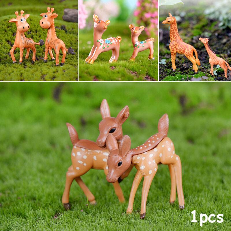 Terrariums Mini Giraffe Animal Figurines Succulents Charms