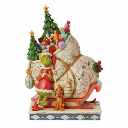 Jim Shore GRINCH & MAX STANDING BY SLEIGH Christmas Figurine 6008884 NEW 2021