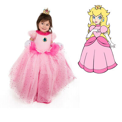 Princess Peach Dress Child Girls Halloween Costume for Kids + Crown + Gloves - Peach Halloween