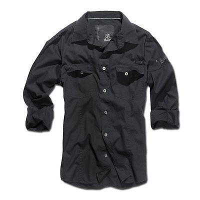 Hemd Schwarz Bekleidung (Brandit Shirt SlimFit Hemd Herrenhemd Bekleidung Herren enganliegend schwarz)