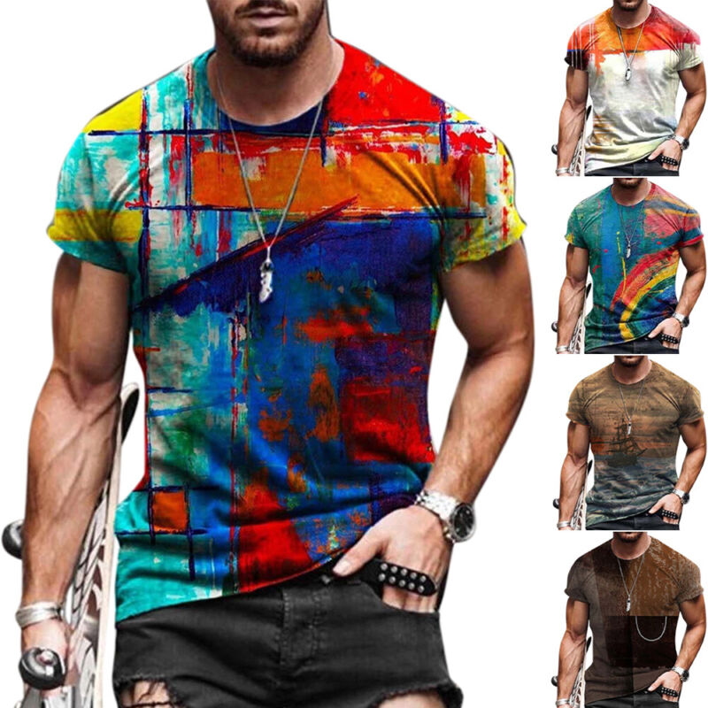 Mens Print Casual Tops Crew Neck Short Sleeve Tee Shirt Summer Sports T-Shirt Clothing, Shoes & Accessories
