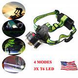 30000LM LED Headlight Flashlight Torch Cree 3x XM-L T6 Headlamp Head Light USA