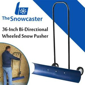 NEW The Snowcaster 30SNC 36-Inch Bi-Directional Wheeled Snow Pusher, Blue Condtion: New