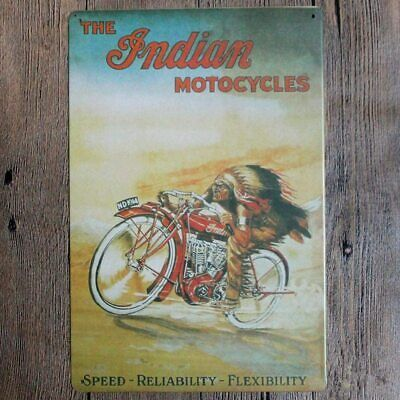 "Indian Motorcycles Speed Rustic Retro Decorative Garage Metal Sign 8"" x 12"""