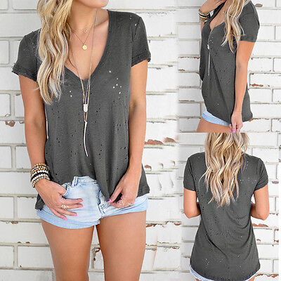 Women's Summer Hole V-neck Short Sleeve Casual Stylish Solid T-shirt Blouse Tops