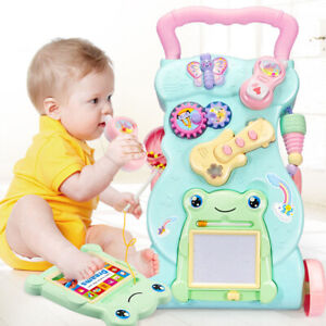2 In 1 First Steps Baby Walkers Music and Lights Fun Push Along Walker