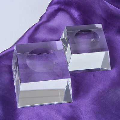 Clear Square Glass Holder - Clear Glass Sphere Square Dimple Blocks Crystal Ball Display Base Stand Holder