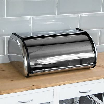 Bread Bin Roll Top Kitchen Storage Stainless Steel Container By Home Discount