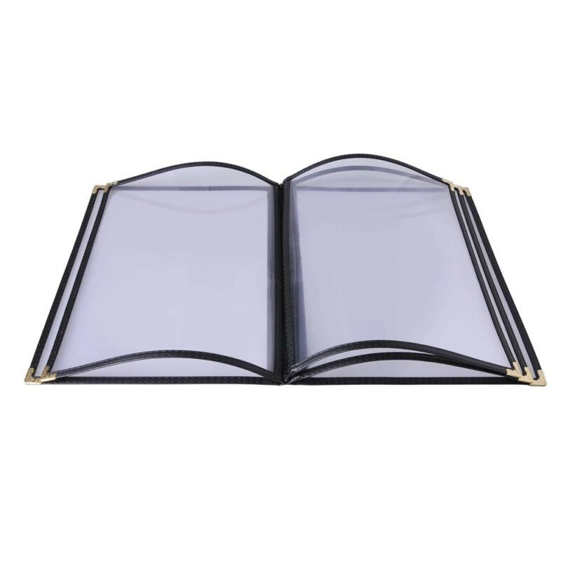 "20 Cafe Menu Cover Double Stitch Black Trim 8.5""x11"" Fold 10 View 5 Page Book"