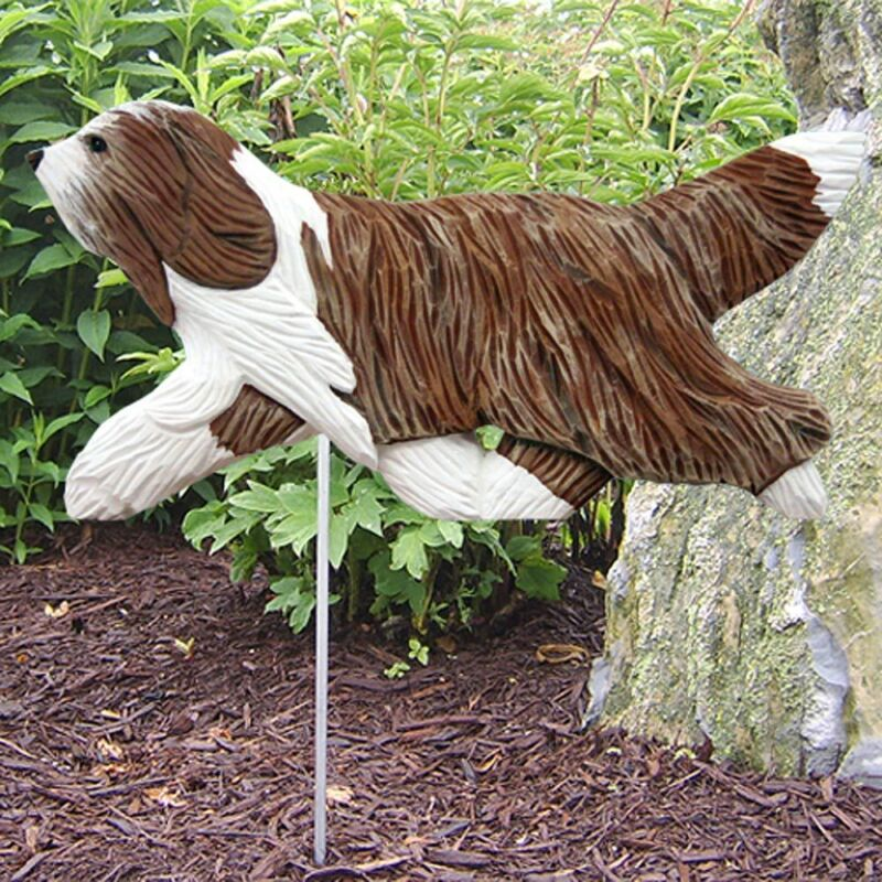 Bearded Collie Outdoor Garden Sign Hand Painted Figure Brown