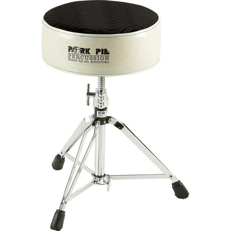 Pork Pie Round Drum Throne Silver Sparkle with Black Swirl Top
