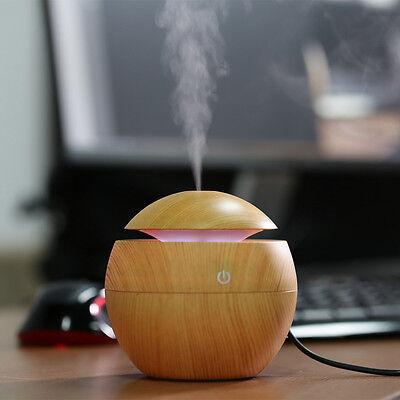 Wooden Ultrasonic Aromatherapy Humidifier Mist Maker LED Light Aromy Diffuser