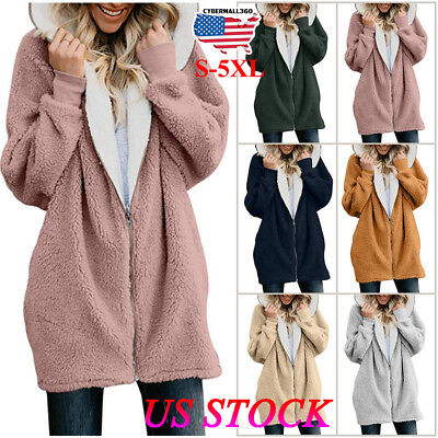 Women Winter Fuzzy Fluffy Coat Fleece Fur Jacket Outerwear Hoody Stitching Color