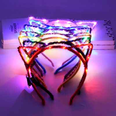 Cute LED Cat Ears Headband Flashing Hair Clasp Headwear Costume Party Cosplay
