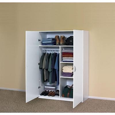 دولاب جديد White Storage Cabinet Closet Armoire Clothing Wardrobe Organizer Bedroom Garage