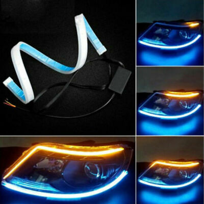Car Parts - 2 Pcs Car Parts Soft Tube LED Strip Daytime Running Lights Turn Signal Lamps